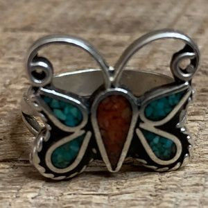 Jewelry - Sterling Silver Crushed Stone Butterfly Ring